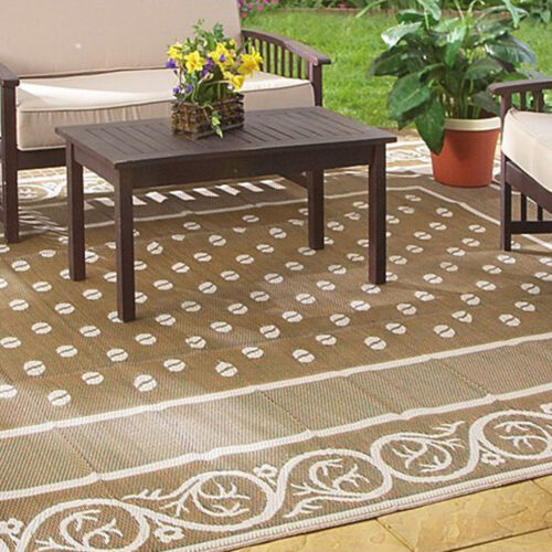 Delightful Outdoor Rug 9x12 Indoor Patio Deck Camper Beach Mat Reversible Picnic  Carpet NEW