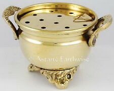 TALL BRASS CAULDRON Wicca Pagan Witch Goth Herbs Incense WITH SCREEN BURNER