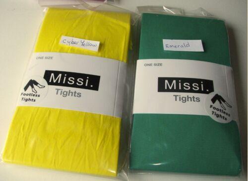 Ladies Opaque 40 Den Footless Tights Navy Cerise Yellow Emerald Mustard Khaki