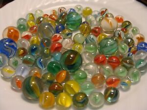 100-Vintage-Classic-Cats-Eye-Marbles-Shooters-Pee-wee-Gift-X-Mas-Player-Old-Toys
