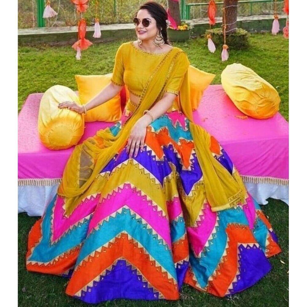 Gota Silk Multy Color Pink Lehenga Choli Wedding Lehenga Skirt Top Lengha Dress
