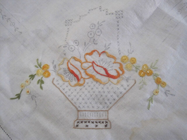 LINEN TABLECLOTH BASKETS OF FLOWERS EMBROIDERY DESIGN TO BE FINISHED & THREADS