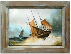 Painting-Oil-Painting-Picture-Oil-Frame-Pictures-Sea-Ships-Oil-Painting-G00089