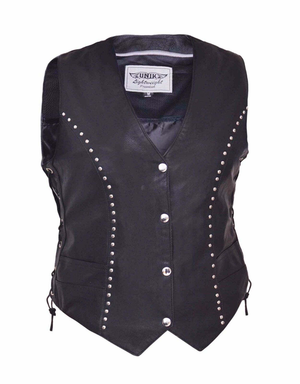 Women's Motorcycle Premium Soft Cowhide Leather Vest With Side Lace and Studded