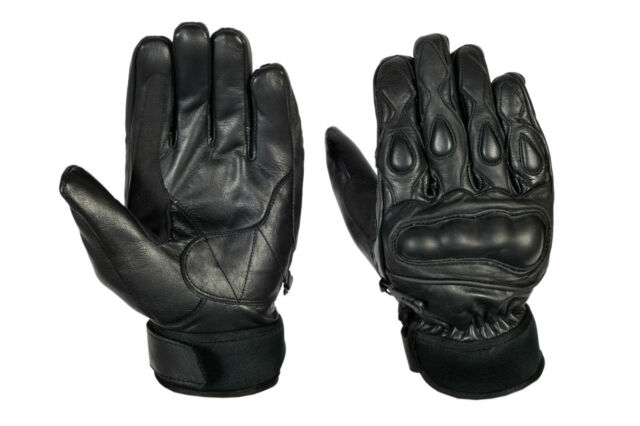 GENUINE LEATHER MENS MOTORCYCLE RACING  WITH KNUCKLE PROTECTION BLACK GLOVE