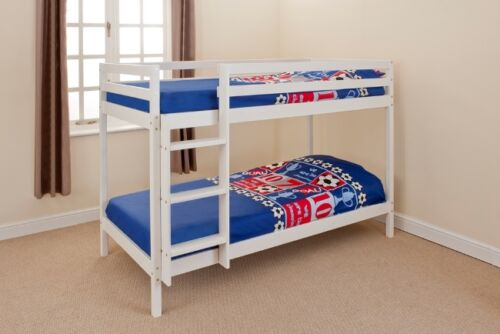 Wooden Bunk Bed Kids Childrens 2ft6 Small Single White Pine With 2 Mattresses