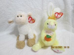 Set of 2 Retired Easter Beanie Babies Baaabsy 2006 & Nibblies 2002 New With Tag