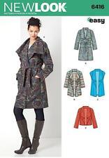 NEW LOOK SEWING PATTERN MISSSES' COAT JACKET & VEST SIZE XS - XL  6416