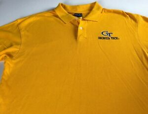 Georgia-Tech-Yellow-Jackets-Polo-Shirt-Mens-Large-Research-Institute-Yellow-Golf