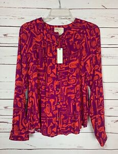 Conversations-By-Anthropologie-Women-039-s-Sz-6-Rare-Horn-Top-Shirt-Blouse-NEW-TAGS
