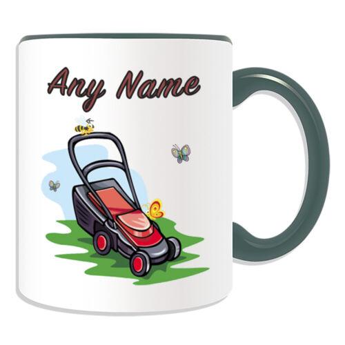 Personalised Gift Gardener Lawn Mower Grass Mug Cup Birthday Christmas Name Text