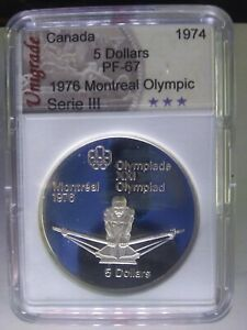 Graded-1974-Proof-Silver-5-1976-Montreal-Olympics-Rowing-Series-III-PF-67