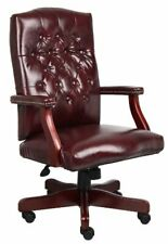 Boss Office Products Classic Executive Caressoft Chair With Mahogany Finish In