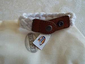 Fossil Braided Sailor Bracelet Leather amp White Rope NEW fossil cloth bag BNWT - <span itemprop='availableAtOrFrom'>North west, United Kingdom</span> - Fossil Braided Sailor Bracelet Leather amp White Rope NEW fossil cloth bag BNWT - North west, United Kingdom