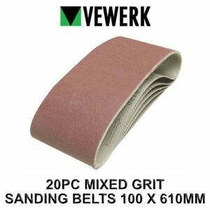 VEWERK 20 Mixed Grit Sanding Belts 610mm x 100mm 60 80 100 120 Grit 9028 5060478389033