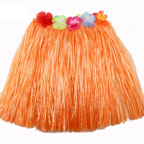 Kids Adult Hawaiian Hula Grass Skirt Flower Wristband Party Beach Dress  R