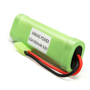 Battery Packs Consumer Electronics 2 X Flat Pack Nimh 9.6v 1600mah Rechargeable Battery Pack For Rc Car Toy Airsoft Gun With Mini Tamiya Connector