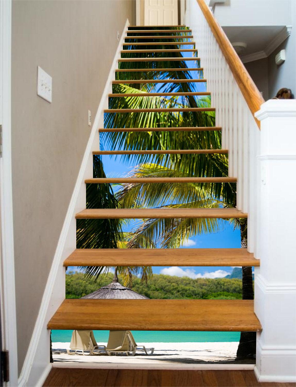 3D Coconut tree beach 489 Risers Decoration Photo Mural Vinyl Decal WandPapier US
