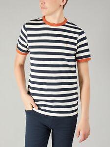 Farah True T F4kf8066 Maglietta Belgrove Stripe vintage 412 Ss Navy shirt Tq0x05wa