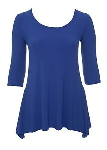 New-women-039-s-Blue-round-neck-3-4-sleeve-waterfall-top-plus-size-BNWT-casual-party