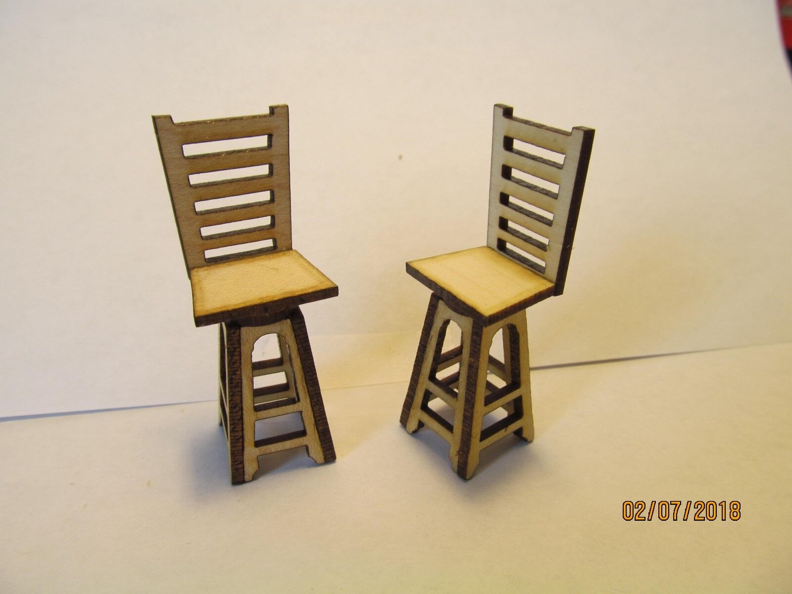 DOLLHOUSE MINIATURE HALF INCH SCALE PAIR OF SWIVEL BAR STOOLS