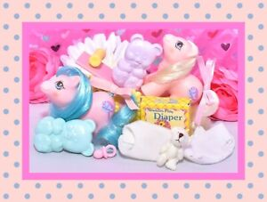 ❤️My Little Pony MLP G1 Vtg Newborn Baby Twins Sticky & Sniffles Accessories❤️