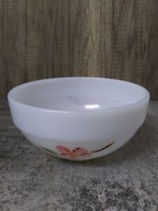 """Vintage Fire King OvenWare Mixing Bowl  Pink Hand Painted Dogwood 6""""x3"""" USA"""