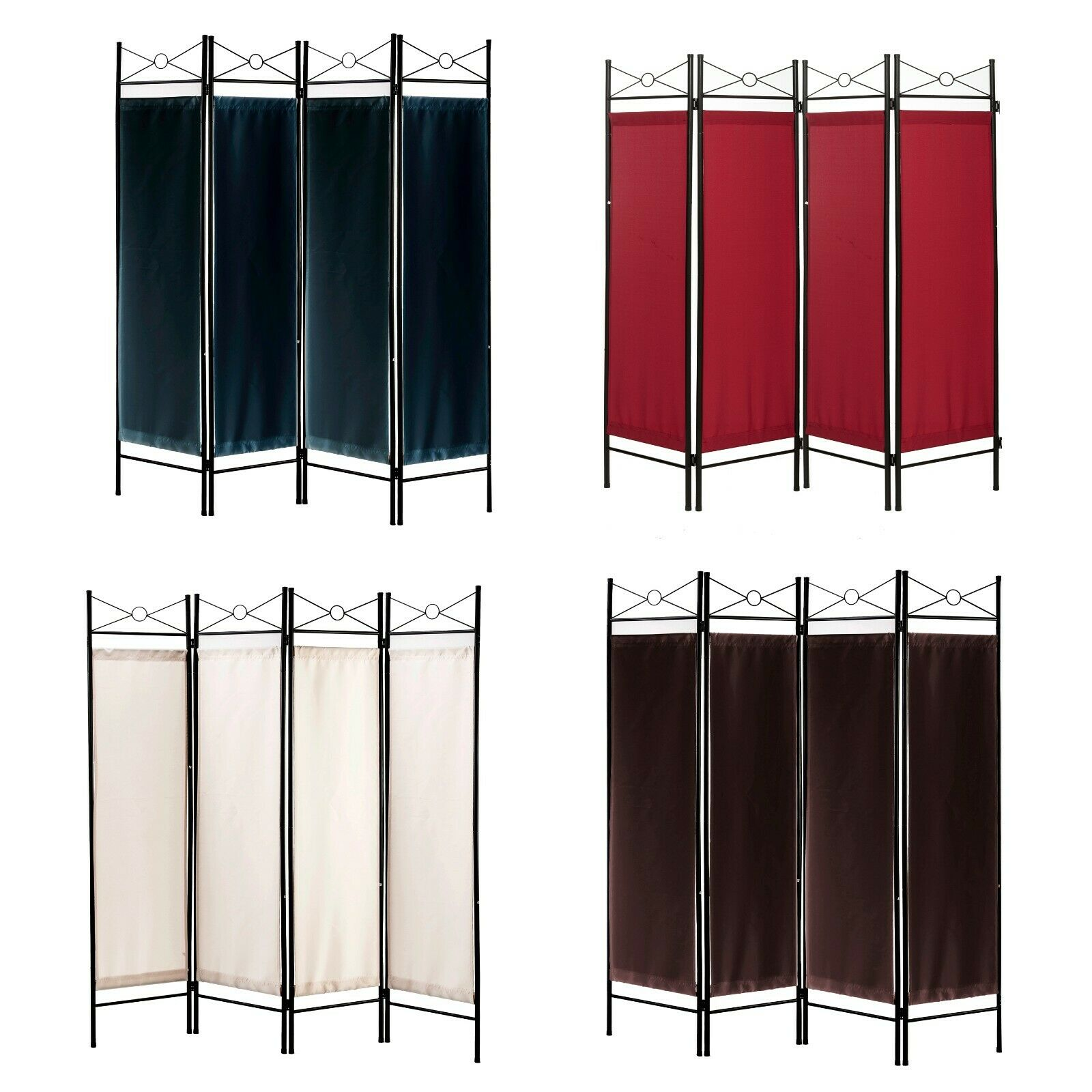 4 Panel Black Color Metal And Woven Fabric Room Divider With Two Way Hinges By For Sale Online Ebay