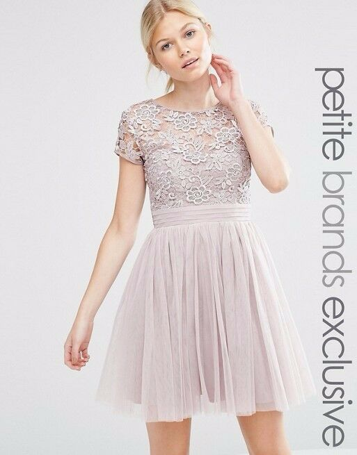 Little Mistress Petite Short Sleeve Lace Bodice Mini Dress With Tulle Skirt