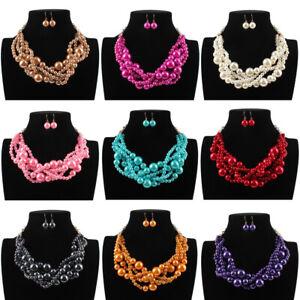 Fashion-Women-Big-Resin-Pearl-Chunky-Choker-Statement-Pendant-Bib-Chain-Necklace