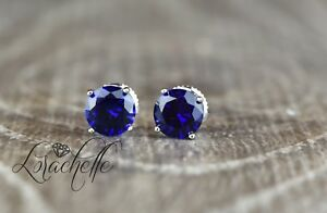 2-0-ct-Round-Cut-Blue-Sapphire-Screw-Back-Earring-Studs-14K-White-Gold