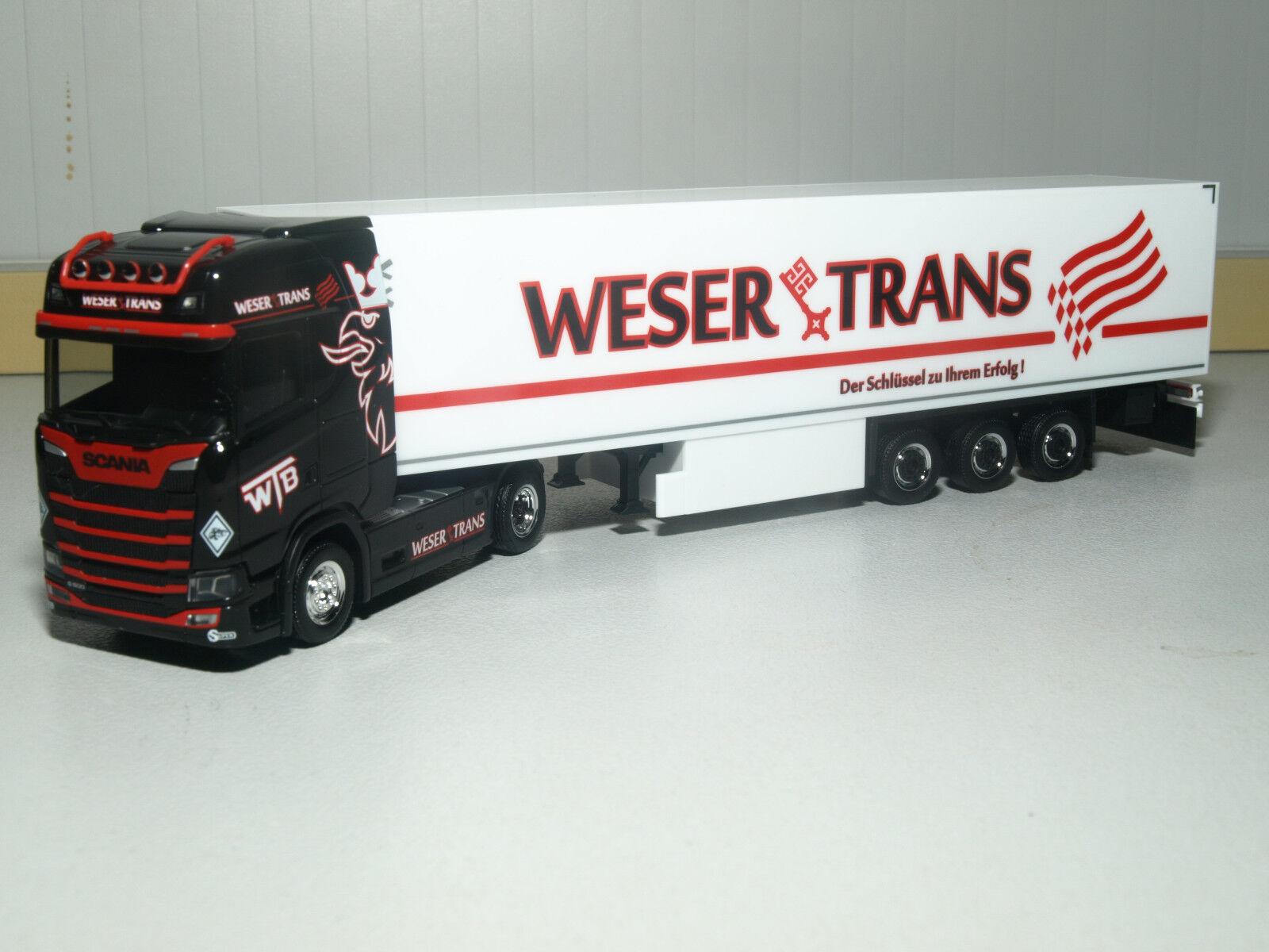 Herpa Herpa Herpa Scania CS Hochdach Kühlkoffer-Sattelzug Weser Trans 309042 dbd6a4