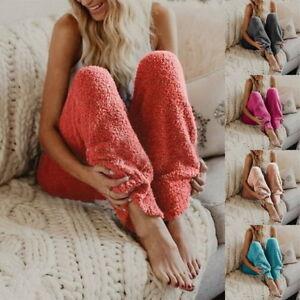 New Women Casual Sport Winter Warm Loose Sweat Pants Jogging Straight Trousers