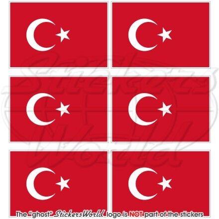 """TURKEY Turkish Flag Türkiye 40mm Mobile Cell Phone Mini Stickers-Decals x6 1.6/"""""""