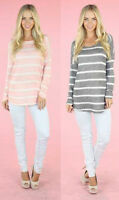 PINK & GREY STRIPED LONG-LINE TOP WITH LONG SLEEVES & CUFF. SIZE S,M,L.