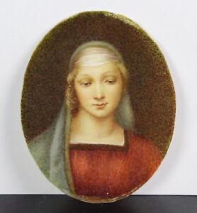 C1900 Peintre En Miniature Jeune Femme Pensive Young Pensive Woman Paint 6,5 Cm