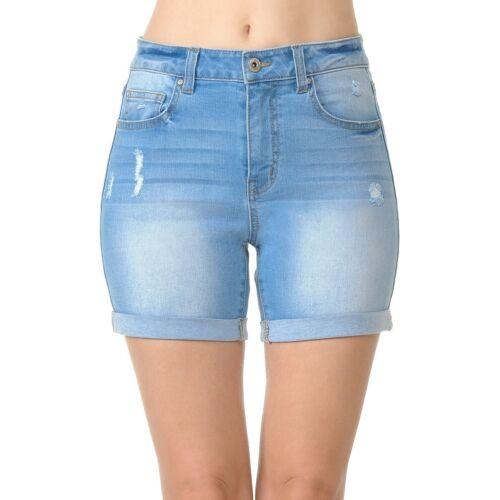 S-3XL Wax Women/'s Juniors High Rise Midi Denim Shorts with Destruction