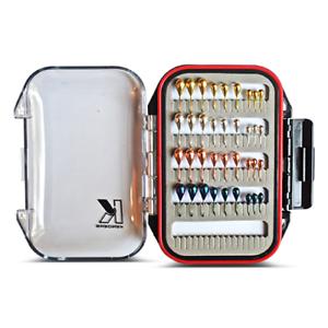 Tungsteno Ice Fishing Jig Set - 36 Jigs Metálico Panfish Kit con Caja Impermeable