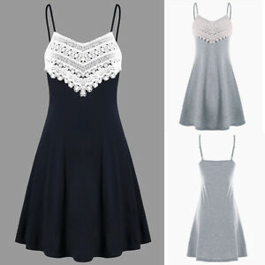 93696aeccc6 Image is loading Womens-Crochet-Lace-Backless-Mini-Slip-Dress-Camisole-