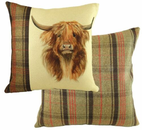 """EVANS LICHFIELD LEAPING HUNTER HIGHLAND COW HAND PAINTED ANIMALS CUSHION 17/"""""""