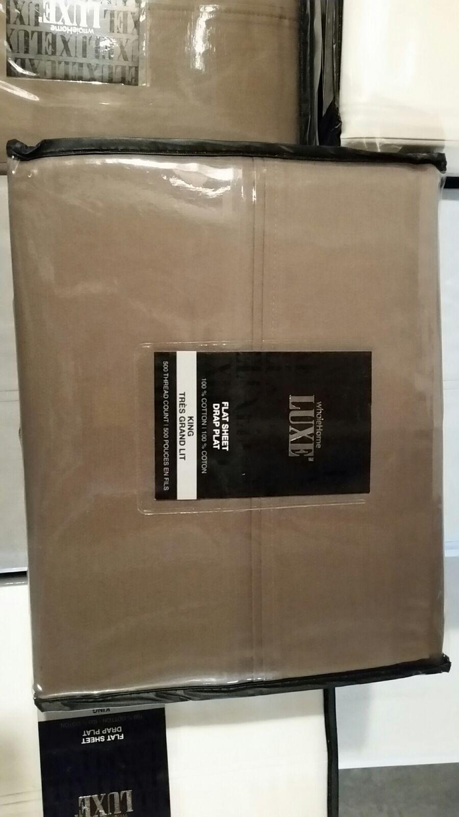 NEW - King Flat Sheet - 500 Thread 100% Egyptian Cotton Shitake Mushroom Brown