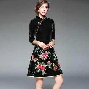 29032308723 Image is loading Chinese-Womens-Velvet-Floral-Embroidery-Qipao-Dress-Slim-
