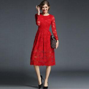 Abiti In Pizzo Eleganti.Elegante Vestito Abito Rosso Pizzo Maniche Corto Scampanato Slim