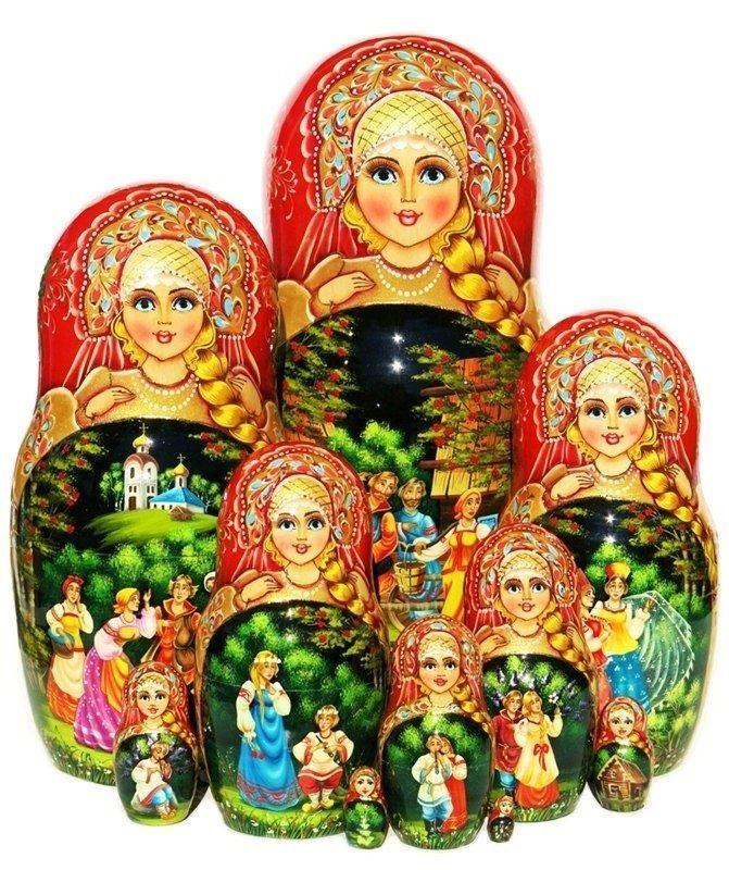 Kalinka Anidamiento Muñeca 10 Pieza Ruso Exclusivo rusas apilamiento Pintado A Mano