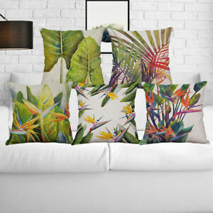 18-034-Flowers-Birds-Cotton-Linen-Waist-Cushion-Cover-Pillow-Case-Home-Decor