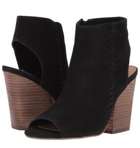 efb28d0f7ce Details about Steve Madden Black Leather Cut Out Open Toe Booties Mingle  Size 9.5