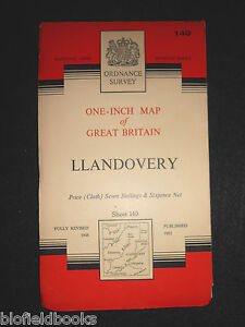 VINTAGE-ORDNANCE-SURVEY-1-034-MAP-Llandovery-1960-Sheet-140-Dyfed-Wales