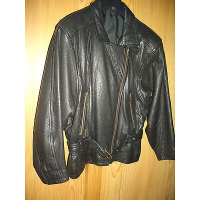 Lederjacke-Biker- Damen Gr.40 schwarz Glattleder Vintage- Marke Maddox /80iger