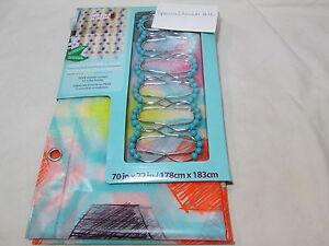New Splash Home PEVA Shower Curtain & 12 Roller Hooks Set - HEXX Multi Colors