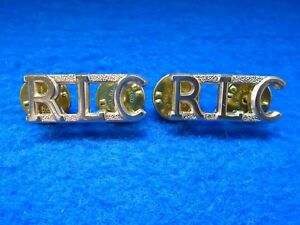 Pair of British Military Army Royal Logistic Corps RLC Staybrite Shoulder Titles